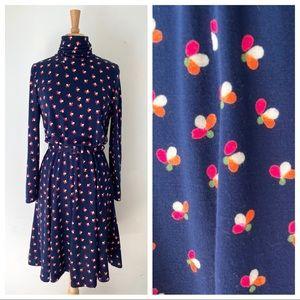Vtg 1970s Eleanor Brenner Knit Dress S/M